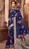 Sari in Navy Blue Color Shaded Silk Printed
