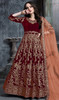 Anarkali Suit, Velvet Fabric in Maroon Color Shaded
