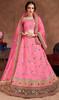 Pink Color Shaded Embroidered Silk Lahenga Choli
