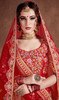 Red Color Shaded Silk Embroidered Lehenga Cholie