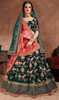 Green Color Embroidered Silk Traditional Choli Skirt
