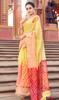 Yellow Color Shaded Cotton Printed Sari