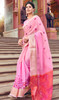 Pink Color Shaded Cotton Printed Sari