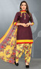 Patiala Dress in Wine Color Shaded Crepe