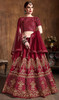 Red Color Art Silk Embroidered Cholie Skirt