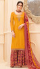Palazzo Suit, Crepe Fabric in Mustard Color Shaded