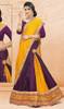 Purple and Yellow Color Satin Choli Skirt