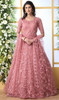 Net Embroidered Anarkali Pink Color Suit
