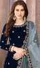 Blue Color Embroidered Velvet Punjabi Suit