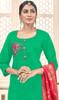 Green Color Cotton Churidar Dress