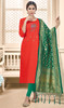 Red Color Cotton Churidar Kameez