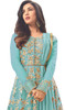 Teal Blue Color Shaded Net Embroidered Anarkali Suit