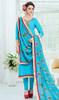 Sky Blue Color Embroidered Silk Churidar Suit