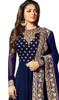 Georgette Embroidered Anarkali Dress in Navy Blue Color
