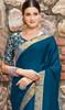 Teal Blue Shaded Silk Sari