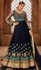 Embroidered Georgette Anarkali Dress in Navy Blue Color