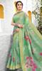 Linen Printed Light Green Color Saree