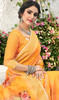 Linen Orange Color Shaded Printed Saree