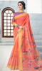 Linen Peach Color Indian Printed Sari