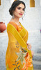 Yellow Color Linen Stylish Printed Sari