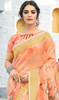 Linen Peach Color Shaded Printed Saree