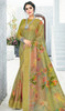 Linen Khakhi Color Shaded Printed Saree