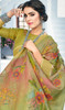 Linen Khakhi Color Shaded Printed Saree