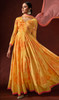 Silk Crepe Mustard Yellow Color Prnted Anarkali Suit