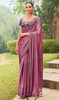 Lavender Color Chiffon Embroidered Sari
