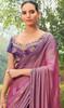 Lavender Color Chiffon Embroidered Sari