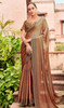 Chiffon Embroidered Sari in Light Brown Color