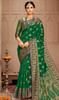 Silk Green Color Shaded Designer Sari