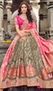 Embroidered Silk Lahenga Choli in Gray and Pink Color