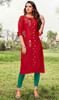Rayon Embroidered Tunic Top in Maroon Color