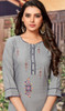 Rayon Embroidered Tunic Top in Gray Color