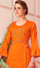 Cotton Embroidered Pant Style Suit in Orange Color