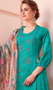 Cotton Embroidered Pant Style Suit in Rama Green Color