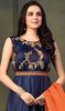 Satin Silk Embroidered Anarkali Suit in Navy Blue Color