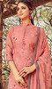 Printed Embroidered Georgette Palazzo Suit in Peach Color