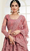 Net Embroidered Choli Skirt in Rose Pink Color