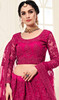 Net Embroidered Lehenga Choli in Rani Pink Color