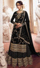 Georgette Embroidered Designer Lehenga Suit in Black Color
