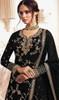 Georgette Embroidered Designer Lehenga Suit in Black Color