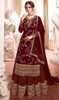 Georgette Embroidered Designer Lehenga Suit in Maroon Color
