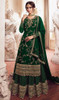 Georgette Embroidered Designer Lehenga Suit in Green Color