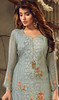Aqua Blue Color Georgette Embroidered Palazzo Suit