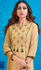Rayon Beige Color Embroidered Indian Kurti