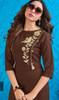 Rayon Brown Color Designer Embroidered Kurti