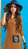 Rayon Light Brown Color Stylish Embroidered Kurti