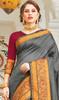 Steel Gray Color Handloom Silk Weaving Sari